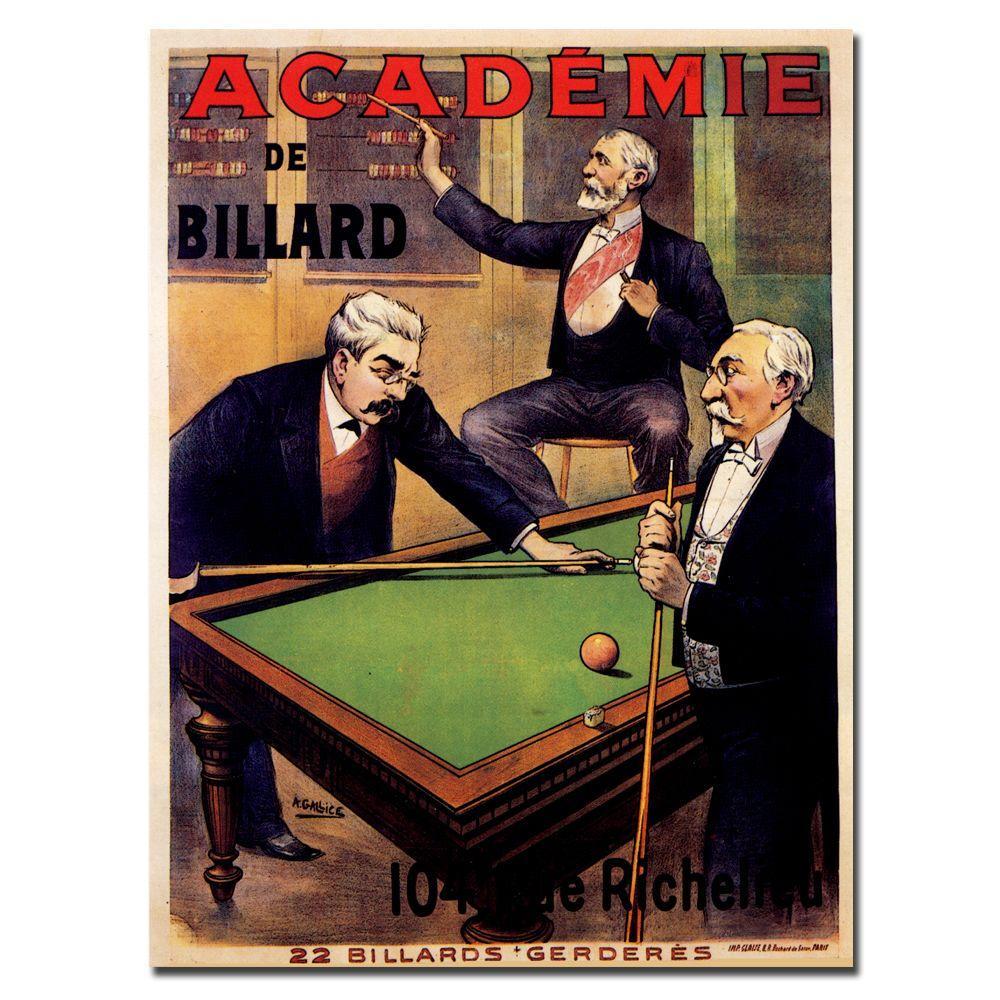 18 in. x 24 in. Academie de Billiard Canvas Art