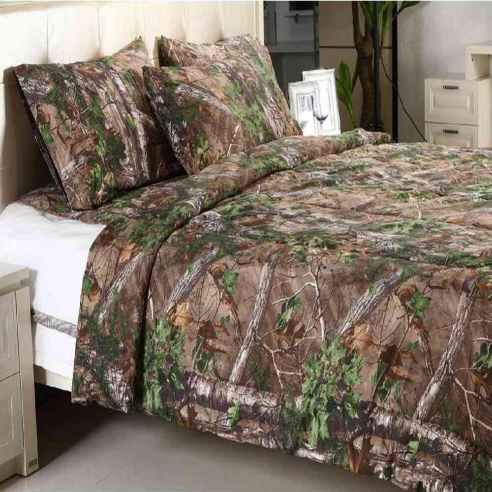 Realtree Xtra Green Solid Queen, Orange Camo Queen Bedding