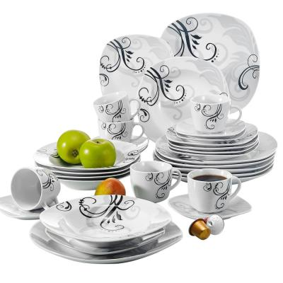 ZOEY 30-Piece White Porcelain Dinnerware Set Dinner Plates Cups and Saucers Set (Service for 6)