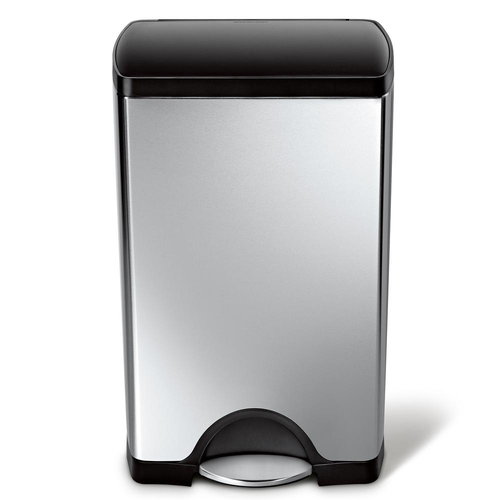 38-Liter Rectangular Brushed Stainless Steel Step-On Trash Can with Black