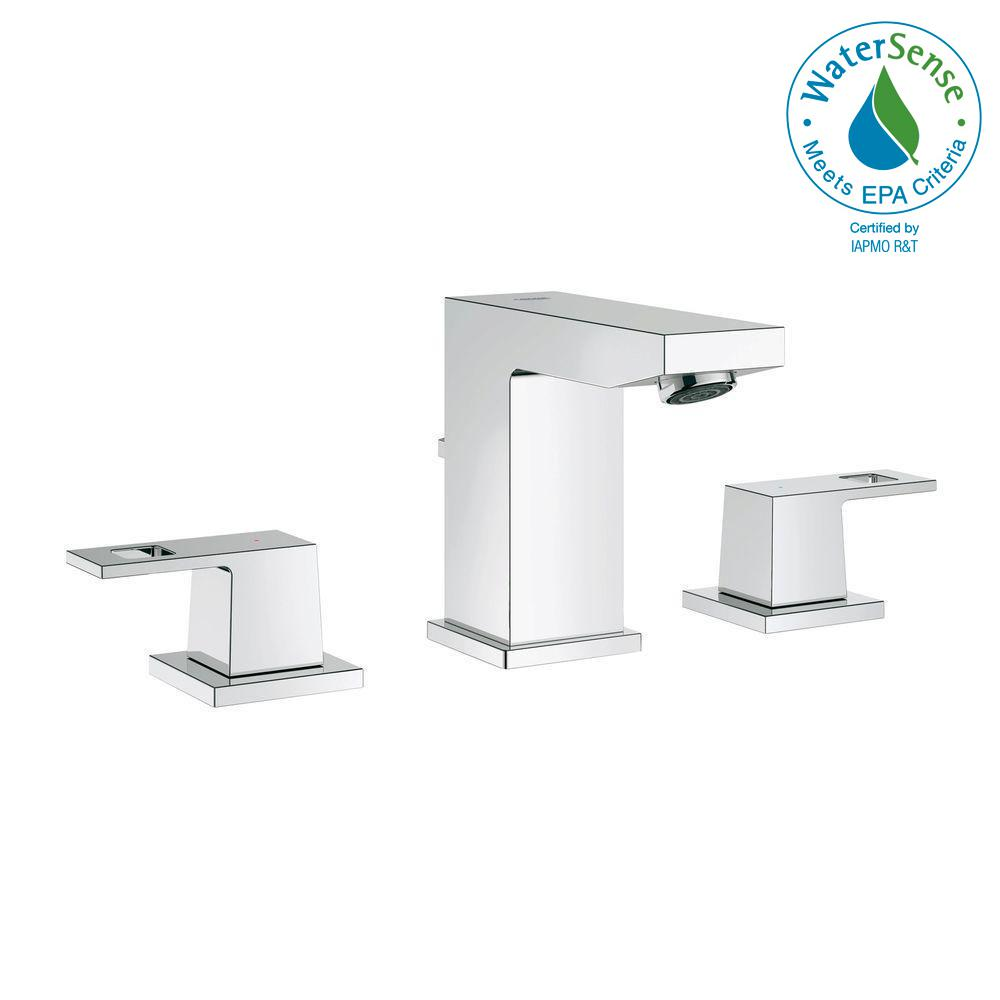 Attrayant GROHE Eurocube 8 In. Widespread 2 Handle Bathroom Faucet In StarLight Chrome