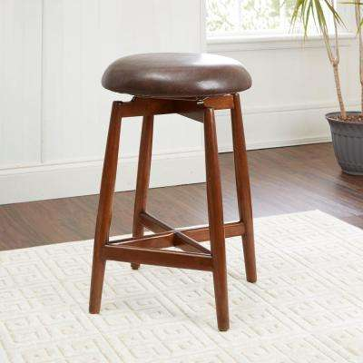 Dover 24 in. Brown Upholstered Saddle Bar Stool