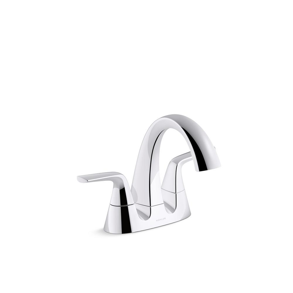 KOHLER Elmbrook 4 in. Centerset 2-Handle Bathroom Faucet in Polished ...