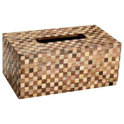 Checkered Wood Tissue Box Cover in Brown