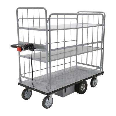 28 ft. x 60 ft. 500 lbs. Load Capacity 2-Shelves Electric Metal Handle Sides Cart