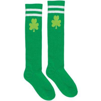 Green Shamrock St. Patrick's Day Athletic Knee High Socks (2-Count, 2-Pack)