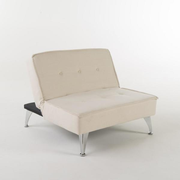 Noble House 2-Seat White Fabric Sofa Bed