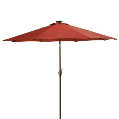 9 ft. Umbrella with Solar Power LED Lights in Red