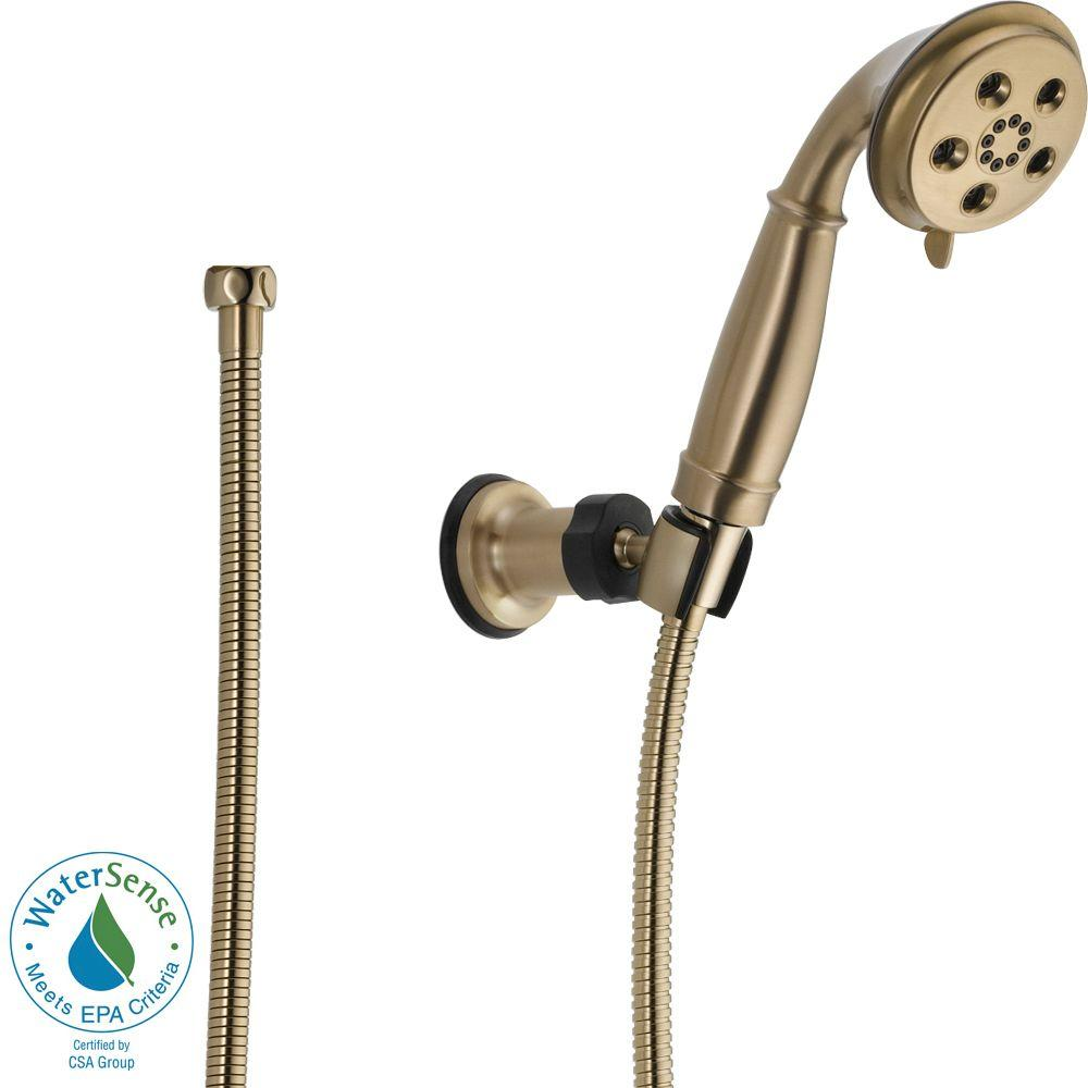 3-Spray 2.0 GPM Wall Mount Handshower with H2Okinetic Technology in Champagne