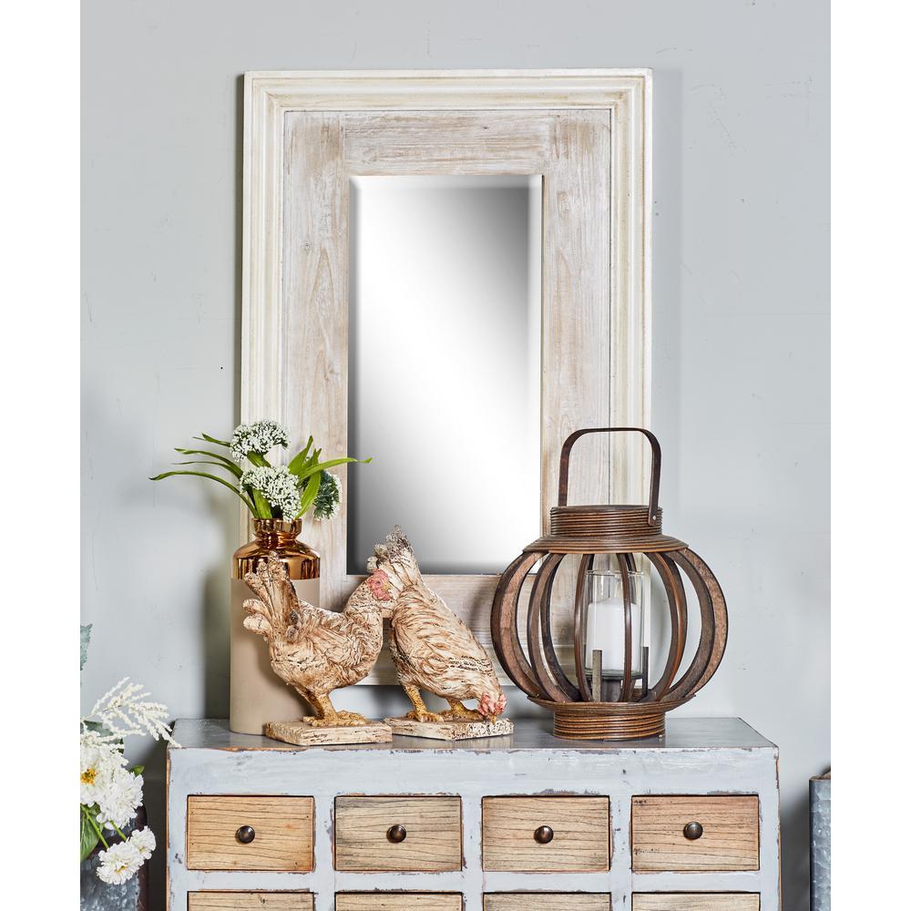 36 in. Rectangular Distressed White Door/Wall Mirror