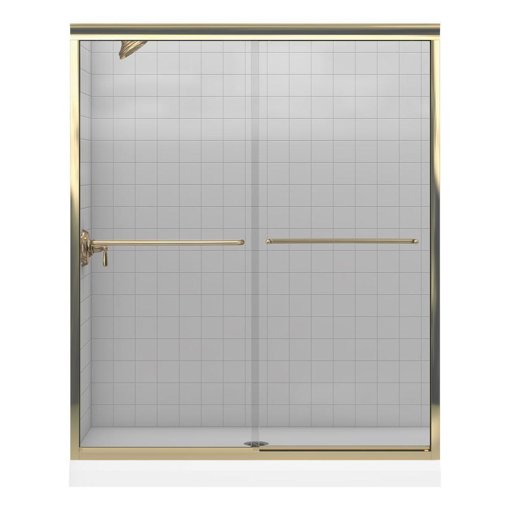 KOHLER Fluence 59-5/8 in. x 70-5/16 in. Frameless Bypass Shower Door in Bright Brass