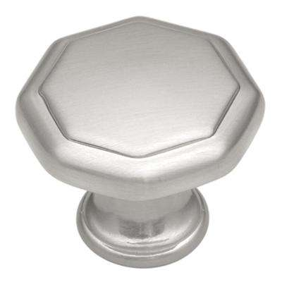 Conquest Collection 1-1/8 in. Dia Satin Nickel Finish Cabinet Door and Drawer Knob (25-Pack)