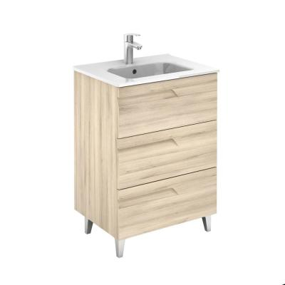 Vitale 24 in. W and 18 in. D 3-Drawers Vanity in Beige Nature with White Basin