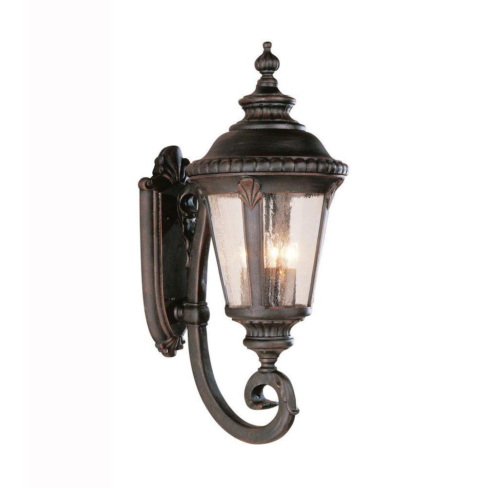 Breeze Way 4-Light Black Coach Outdoor Wall Mount Lantern with Seeded
