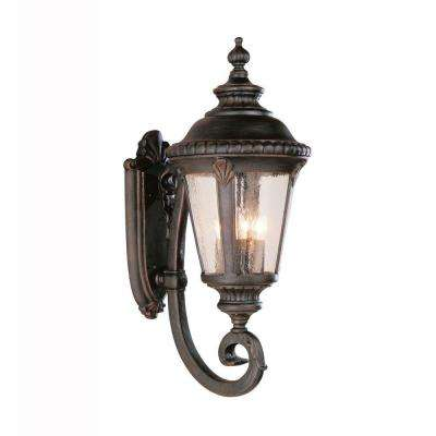 Breeze Way 4-Light Black Coach Outdoor Wall Mount Lantern with Seeded Glass