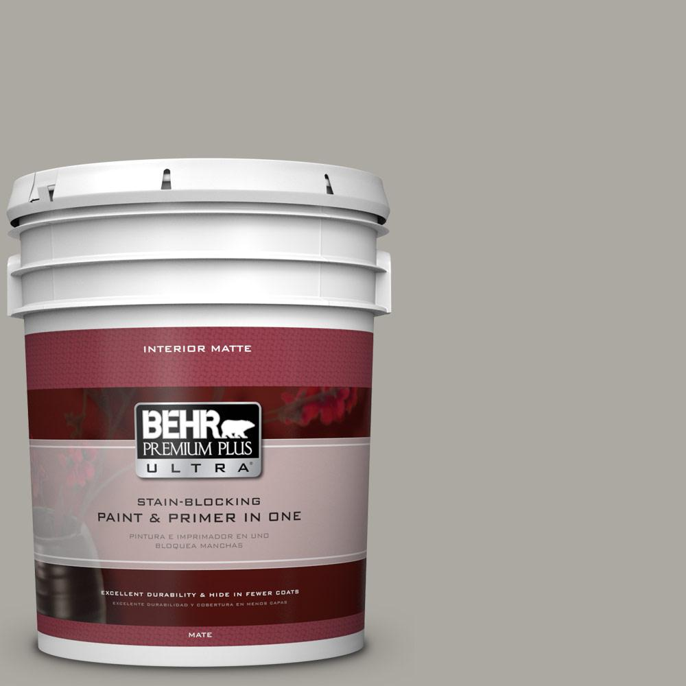 BEHR Premium Plus Ultra 5 Gal. #N360 3 Still Gray Matte Interior Paint 175405    The Home Depot