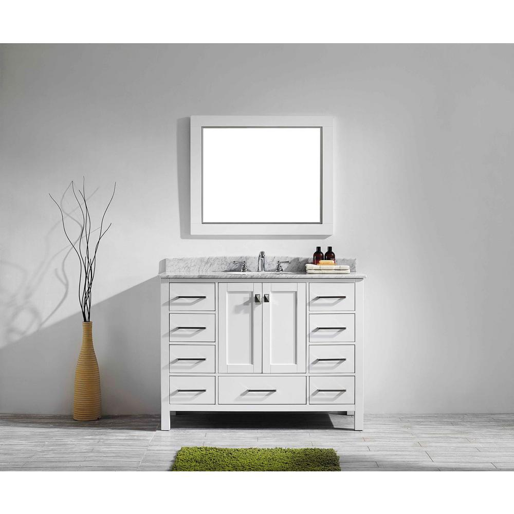 Eviva Aberdeen 41.3 in. W x 22 in. D x 35 in. H Vanity in White with Carrara Marble Vanity Top in White with White Basin
