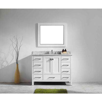 Aberdeen 41.3 in. W x 22 in. D x 35 in. H Vanity in White with Carrara Marble Vanity Top in White with White Basin