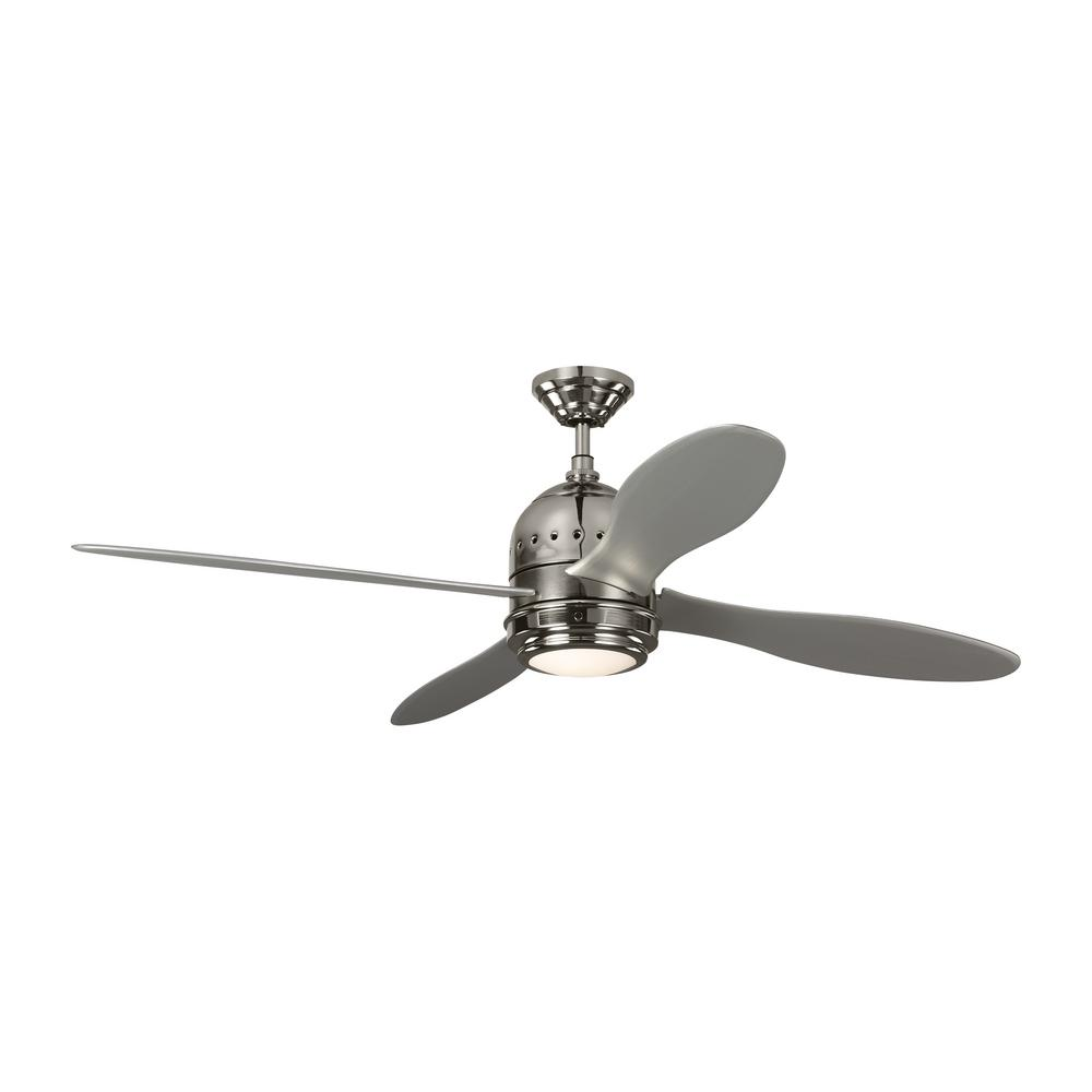 Monte Carlo TOB by Thomas O'Brien Metrograph 56 in. Integrated LED Indoor Polished Nickel Ceiling Fan with Silver Blades and Light