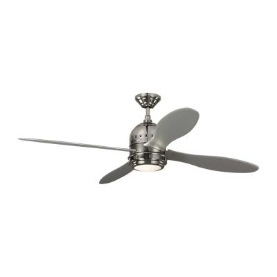 TOB by Thomas O'Brien Metrograph 56 in. Integrated LED Indoor Polished Nickel Ceiling Fan with Silver Blades and Light