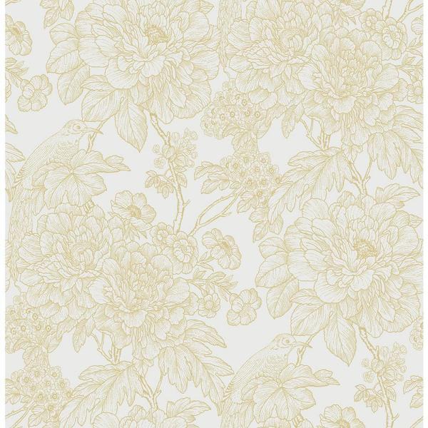 Birds of Paraside Breeze Mustard Floral Strippable Wallpaper (Covers 56.4 sq. ft.)