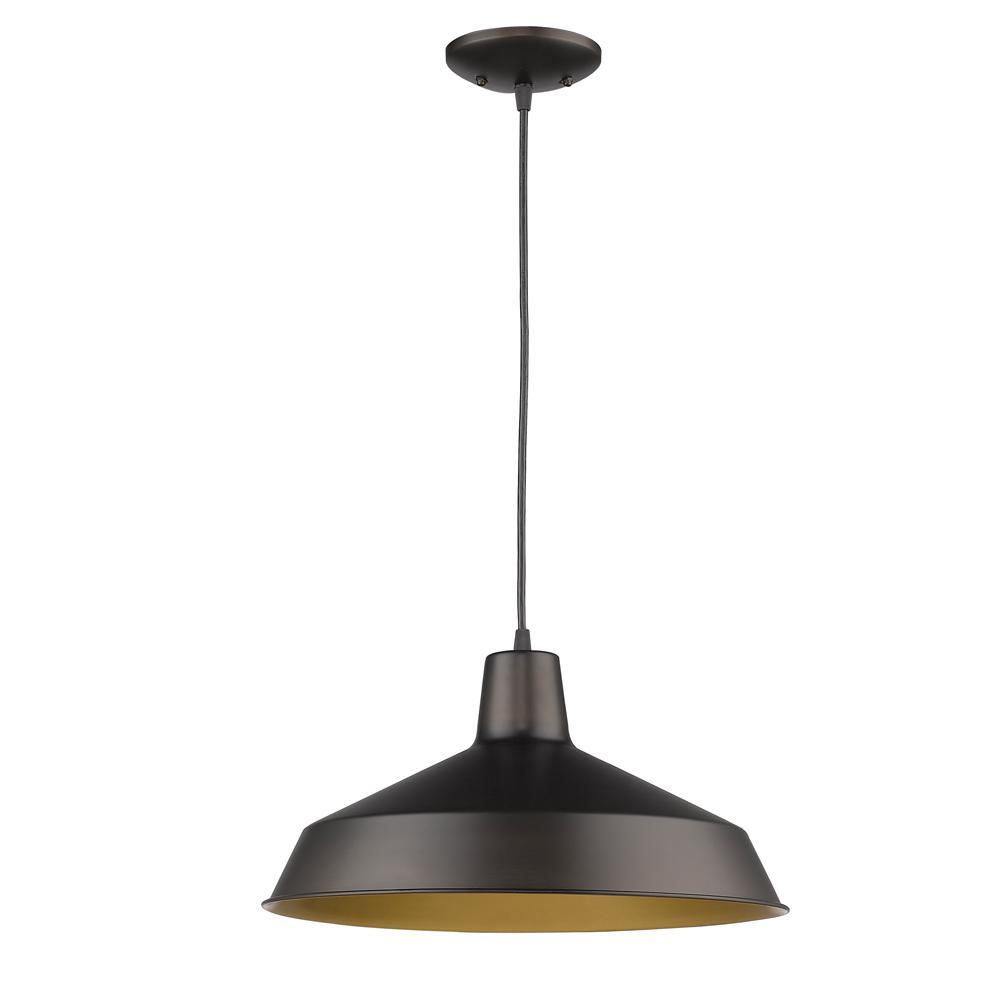 Acclaim Lighting Alcove 1-Light Oil-Rubbed Bronze Pendant with Antique Gold Interior Shade