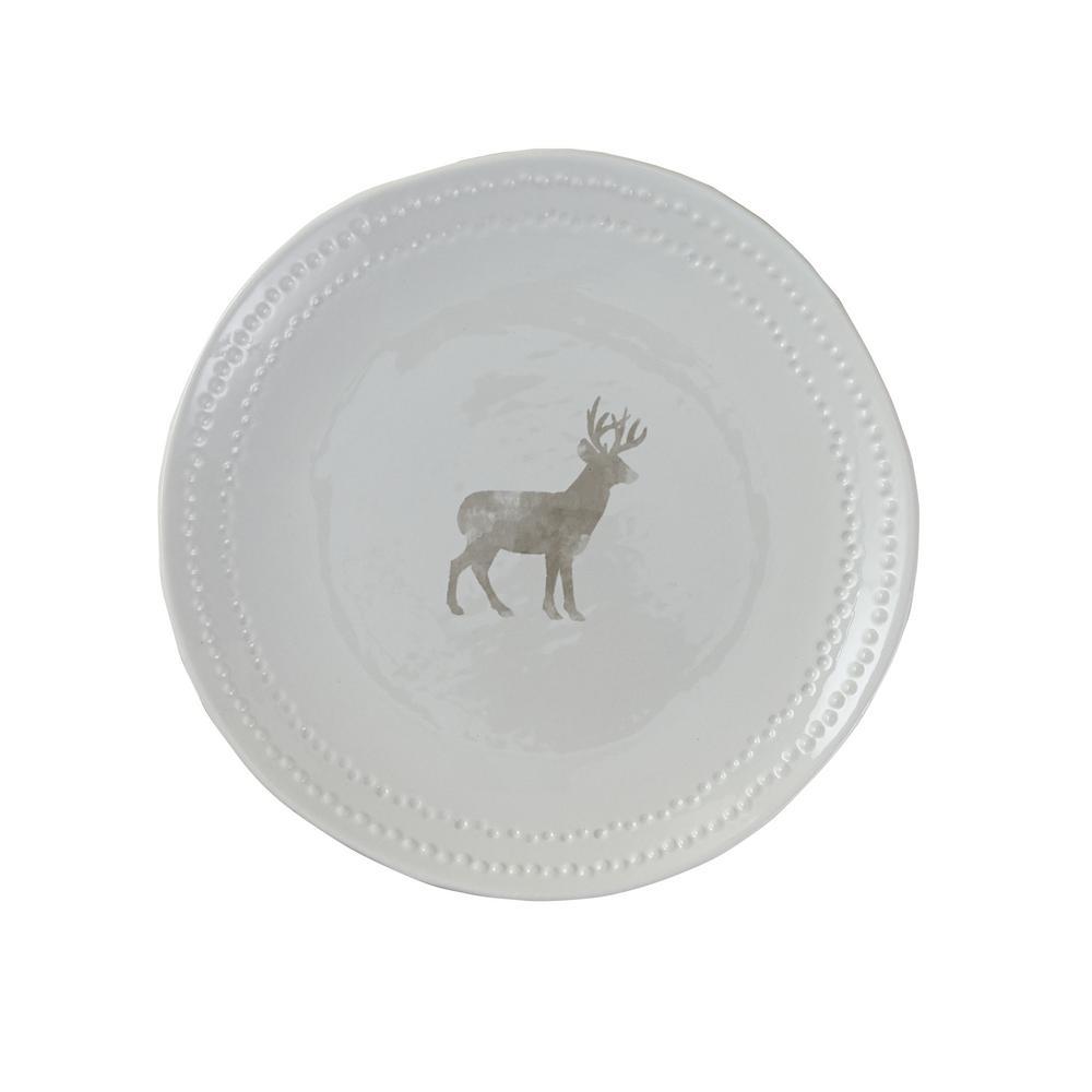 Peyton Deer White Salad Plate (Set of 4)