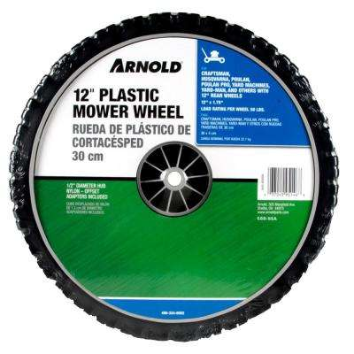 12 in. x 1.75 in. Universal Plastic Wheel with 1/2 in. Dia Nylon Offset Hub and Adapters Included