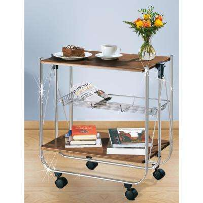 Dinett Walnut Serving Trolley with Storage Tray