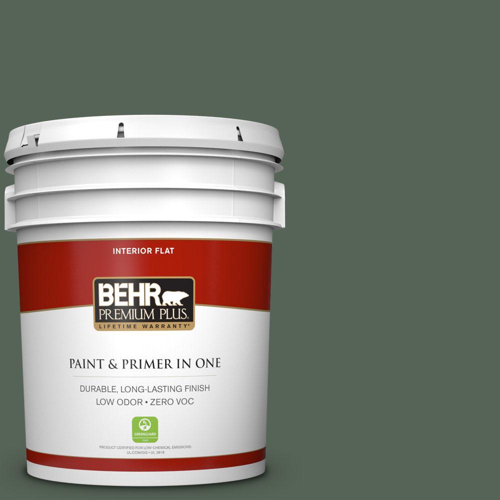 5 gal. #T13-16 Pine Cone Pass Zero VOC Flat Interior Paint
