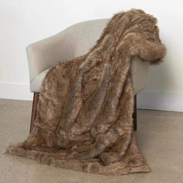 Coyote Faux Fur Throw 54 in. x 36 In.