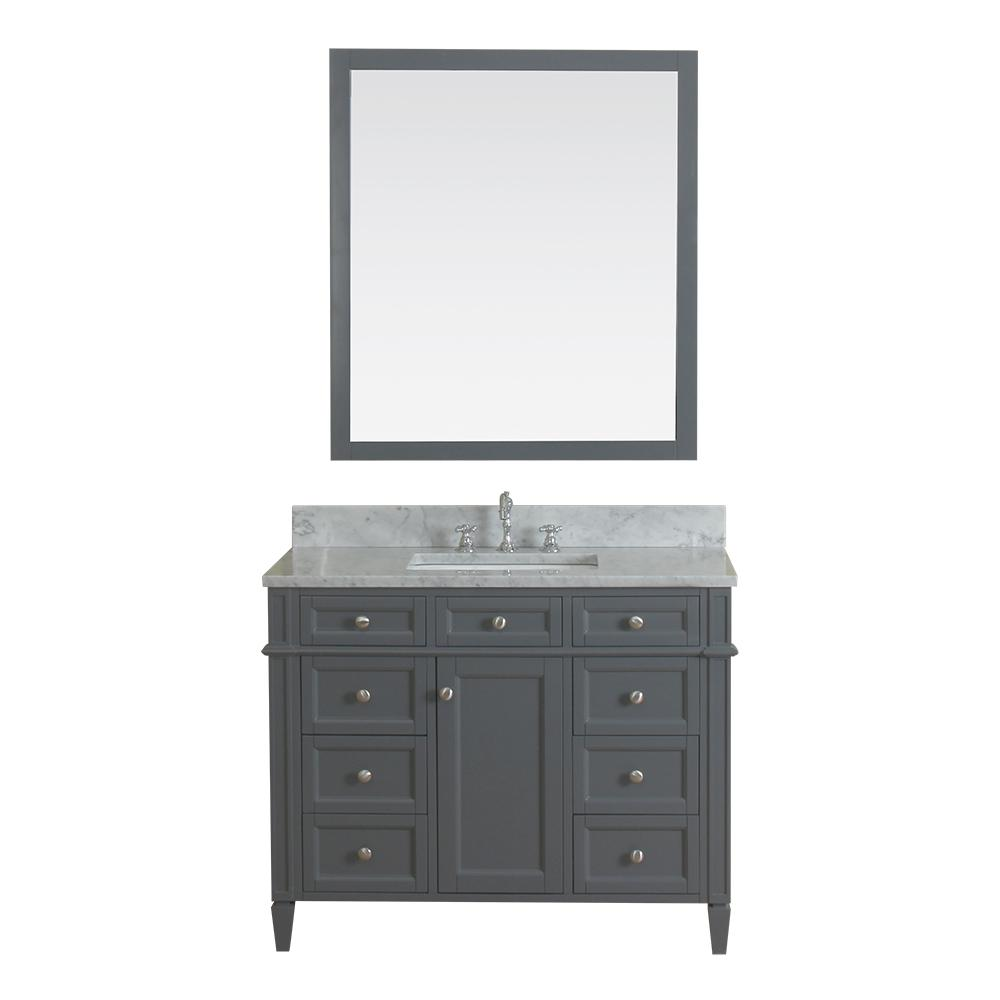 Alya Bath Samantha 42 in. W x 22 in. D Vanity in Gray with Marble Vanity Top in White with White Basin and Mirror