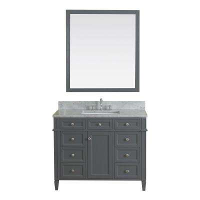 Samantha 42 in. W x 22 in. D Vanity in Gray with Marble Vanity Top in White with White Basin and Mirror
