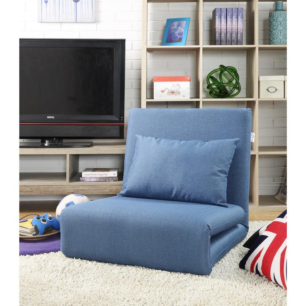 Loungie Blue Relaxie Linen Convertible Flip Chair Floor Sleeper FC63-03BL-HD