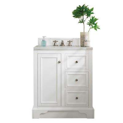 De Soto 30 in. W Single Vanity in Bright White with Soild Surface Vanity Top in Arctic Fall with White Basin