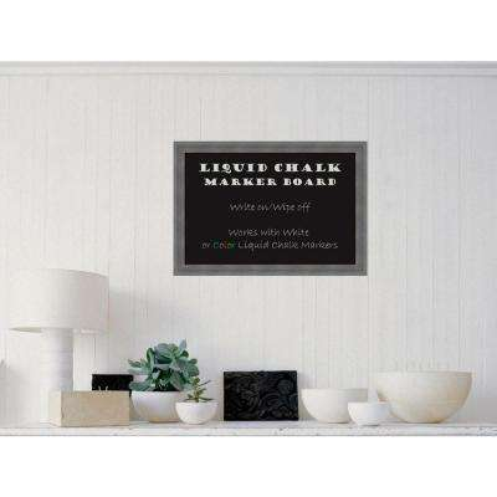 Dixie Grey Rustic Wood 26 in. W x 18 in. H Framed Liquid Chalk Marker Board