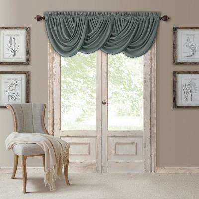 Blackout All Seasons 52 in. W x 36 in. L, Single Window Valance Blackout Rod Pocket Solid Valance, Dusty Blue
