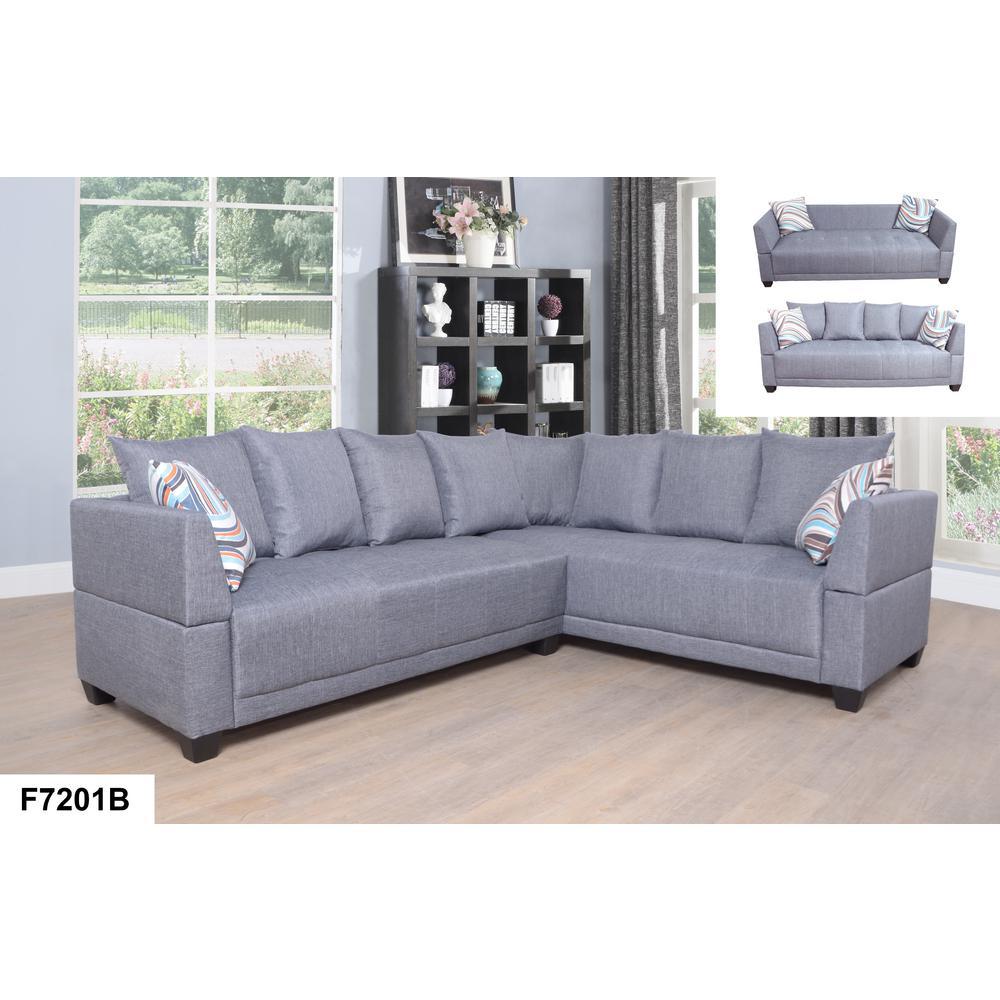 Gray Left Sectional Sofa Set (2 Piece)