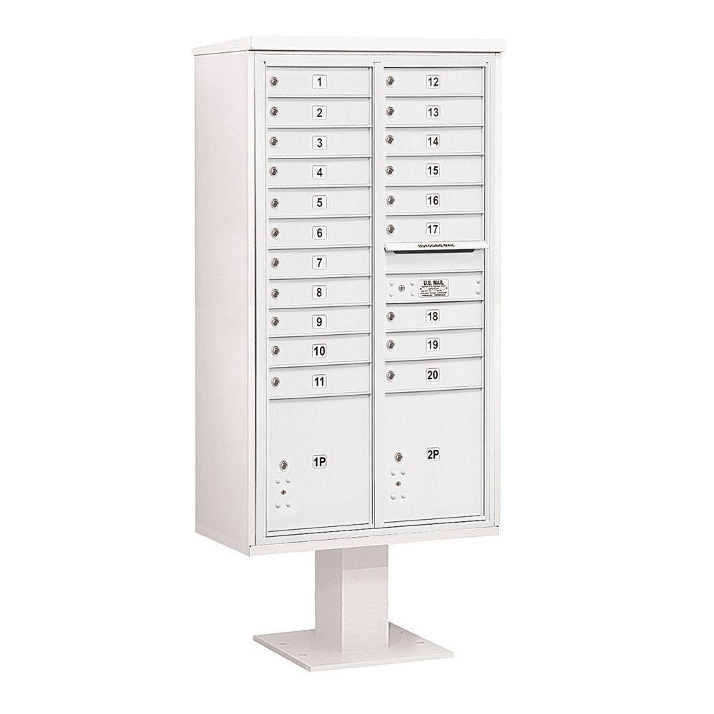 3400 Series 72 in. Max Height Unit White 4C Pedestal Mailbox