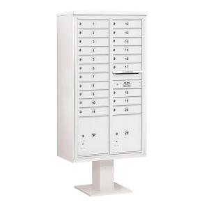 Salsbury Industries 3400 Series 72 inch Max Height Unit White 4C Pedestal Mailbox with 20 MB1 Doors/2 PL by Salsbury Industries