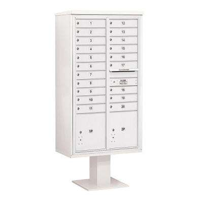 3400 Series 72 in. Max Height Unit White 4C Pedestal Mailbox with 20 MB1 Doors/2 PL