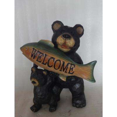 Bear Fish Welcome Sign Statue