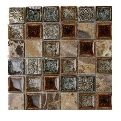 Roman Selection Charred Chestnut Glass Mosaic Floor and Wall Tile - 3 in. x 6 in. x 8 mm Tile Sample
