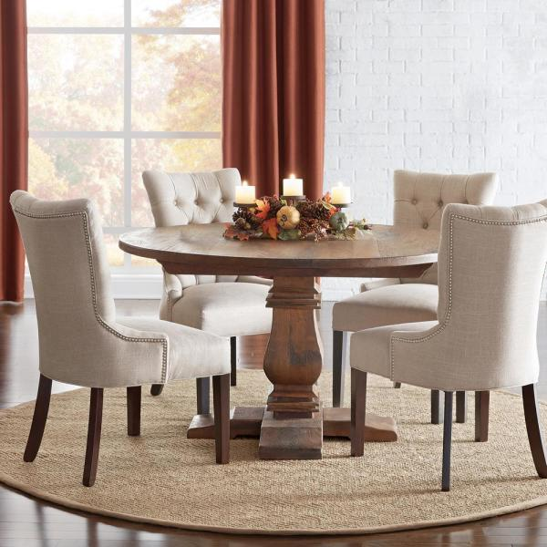 Aldridge Antique Walnut Round Dining Table Nb024aw The Home Depot