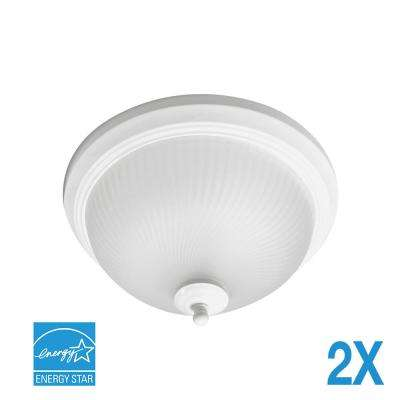70-Watt Matte White Integrated LED Flushmount (2-Pack)