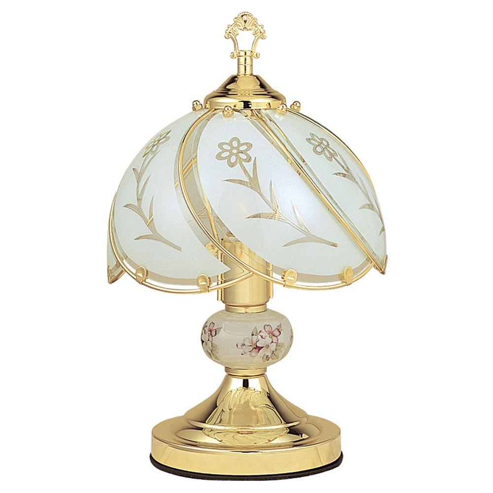 ORE International 14.25 in. Floral Gold Touch Lamp