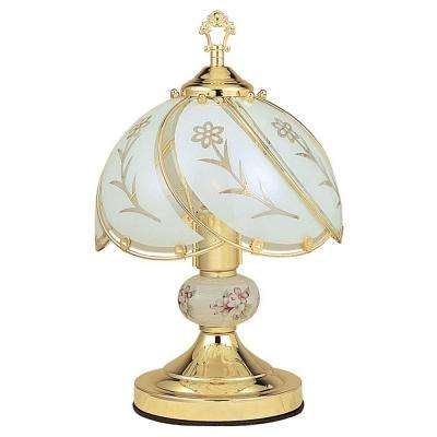 14.25 in. Floral Gold Touch Lamp