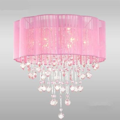Eos 18 in. 4-Light Indoor Pink Finish KIDS Flush Mount with Light Kit
