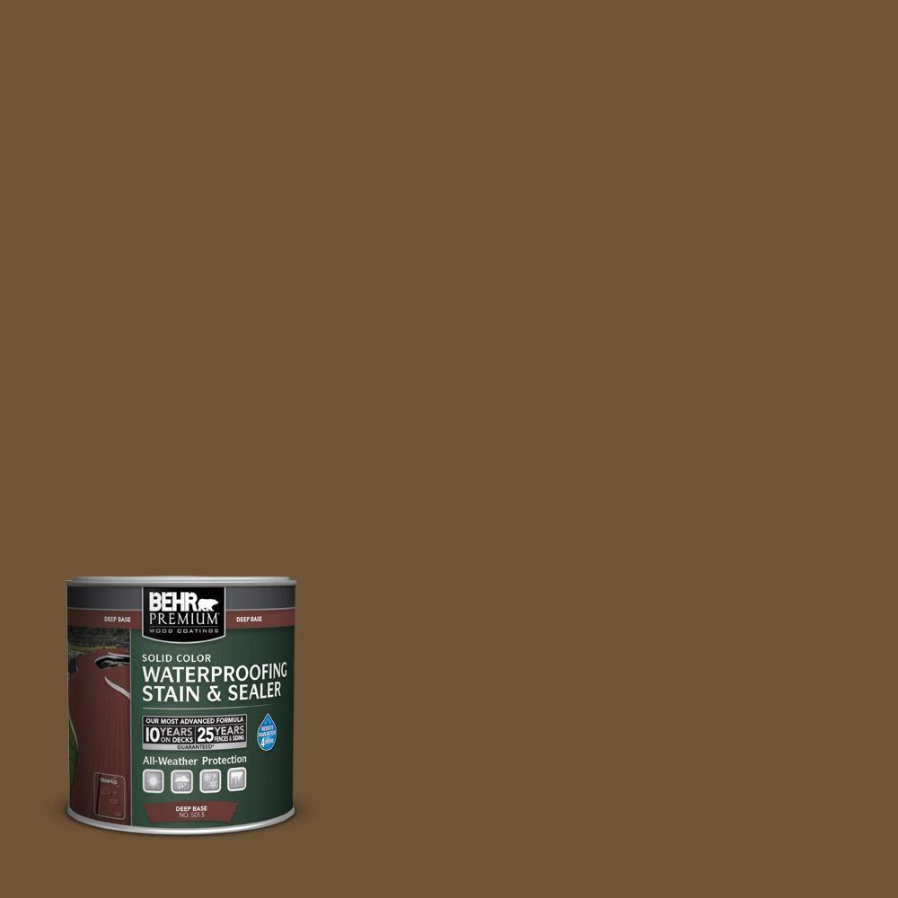 8 oz. #SC-109 Wrangler Brown Solid Color Waterproofing Stain and Sealer