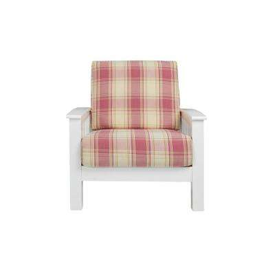 Omaha Mission Style White Arm Chair with Exposed Wood Frame in Pink Plaid